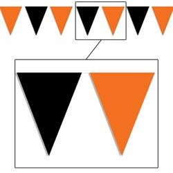 orange and black outdoor pennant banner
