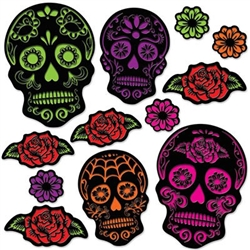 Day Of The Dead Sugar Skull Cutouts - Decorate your Day of the Dead party with these colorful Day of the Dead Sugar Skull Cutouts. With their black background and bright colors, these cutouts pop with excitement!