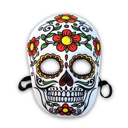 Day Of The Dead Mask - This white fabric mask is printed with a design of green, red, yellow, orange and black! The attached elastic strap holds the molded mask snugly to your face, while the printed fabric covering gives the mask some added comfort
