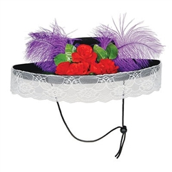 Felt Catrina Hat with flower, plume and lace embellishments