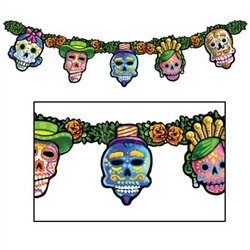 The Day of the Dead Streamer is the perfect hanging decoration for any Day of the Dead festivity. Each package includes one cardstock streamer (hanging banner) that is just over four feet long.