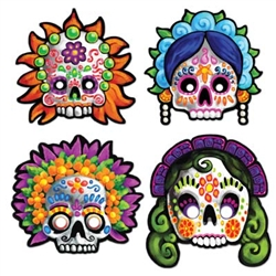Day of the Dead Masks (4/pkg) -  These festive Day of the Dead Masks (4/pkg)and colorful Day of the Dead Masks are a great way to show off and learn about a unique Mexican celebration.