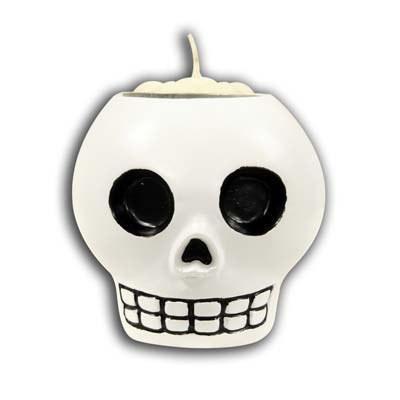 skull tea light holder