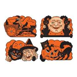 Vintage Orange and Black Halloween Cutouts - just the thing to add to your Halloween retro look!