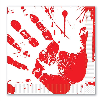 bloody handprints luncheon napkins