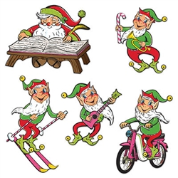 Make your Christmas merry with these Vintage Christmas Santa & Elves Cutouts.  Produced from never before released original art, they're sure to become a family favorite!  Each package contains five colorful cutouts printed both sides on high quality cardstock.  The cutouts range in size from 14 to 21 inches.