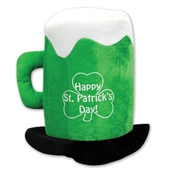 Plush St Patricks Day Beer Mug Hat