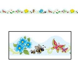 butterflies, flowers. bees border trim