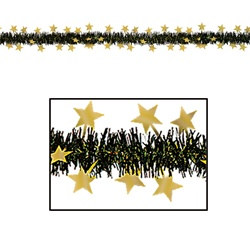 Black and Gold Metallic Star Garland