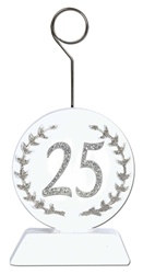 Silver Glittered 25th Photo/Balloon Holder