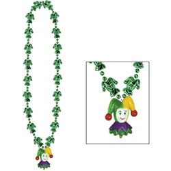 Mardi Gras Jester Beads with Jester Medallion