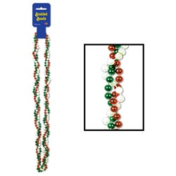 Red White and Green Braided Beads