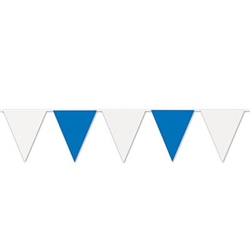 blue and white pennant banner