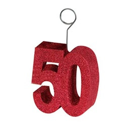 glittered 50th photo/ballon holder