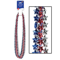 Red Silver and Blue Star Beads