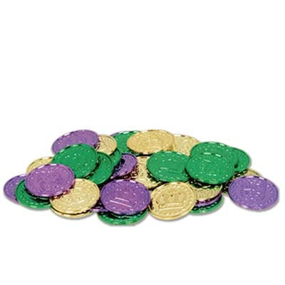 Green, Gold, and Purple Mardi Gras Coins (100/pkg)