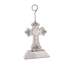 Silver Cross Photo/Balloon Holder