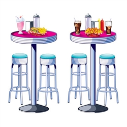 Sit back and relive the 50's with our Soda Shop Tables and Stools Props