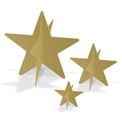 Gold 3-D Foil Star Centerpieces - Whether hanging from the ceiling or ona tabletop, these 3D stars add sparkle and excitement.