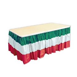 red, white & green table skirting