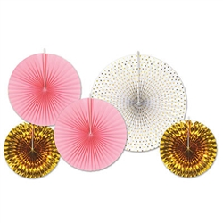 Assorted Paper & Foil Decorative Fans Gold & Pink