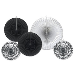 Black and Silver Assorted Paper & Foil Decorative Fans