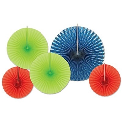 Assorted Paper & Foil Decorative Fans Lime Green