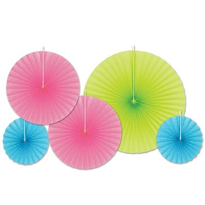 Accordion Paper Fans - Neon Pink Assortment