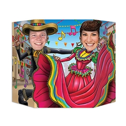 Mexican Folk Dancing Photo Prop - Put your proverbial dancing shoes on with this fun Mexican Folk Dancing Photo Prop!  You'll help your guests create life long memories at your next Fiesta, South of the Border or Cinco de Mayo themed party when you create a photo booth featuring this colorfully vibrant prop.