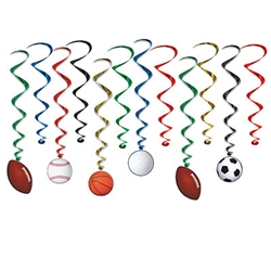 Sports Whirls - 12 per package, 6 with danglers.