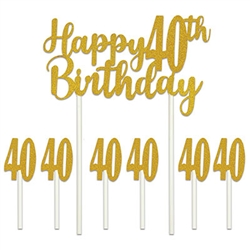 "Happy ""40th"" Birthday Cake Topper"