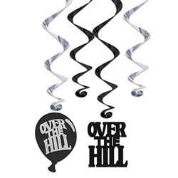 Over The Hill Whirls - 12 Pieces - Each package contains 6 - 17.5 inch whirls and 6 - 32 inch whirls with danglers.  The danglers include 3 each Over the Hill balloon cutouts and Over The Hill letter cutouts.  Danglers are 6.5 inches tall.  Easy to hang with included plastic hook and reusable with care.