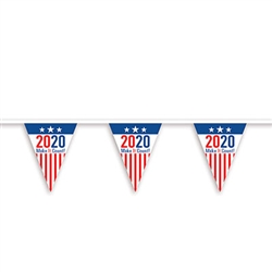 "Perfect for rallies, polling places, or just to build excitement. This ""2020"" Make It C0unt pennant banner can be hung indoors or out. It's 10.75' long and strung with 9"" tall pennants."