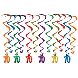 "Every decade deserves a celebration, these whirls are sure to help make your 7th decade Instagram ready! <br/ / / / / / / / /> These multi colored  whirls come 12 to a pack. There are six 17.5 inch whirls and six 32 inch whirls with ""70"" danglers attached.  Completely assembled and easy to hang with the attached hook!"