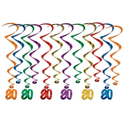 "Make your 8th decade Instagram ready!  These multi colored whirls come 12 to a pack. There are six 17.5 inch whirls and six 32 inch whirls with ""80"" danglers attached.  Completely assembled and easy to hang with the attached hook!"