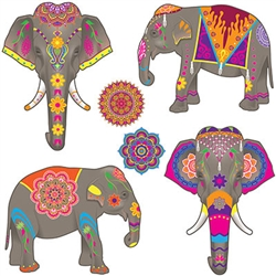 Elephant Cutouts with Eastrn style decoration