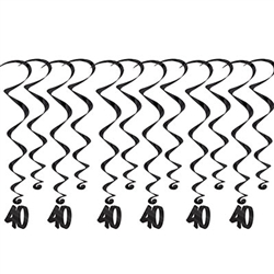 "40 Whirls - Add a strikingly bold touch of class to your birthday celebration with these Black 60th Birthday Whirls. Each package comes with 12 whirls. Six are 17.5"" long basic whirls, six are 32"" long whirls with 6.5"" tall black number 40 danglers."