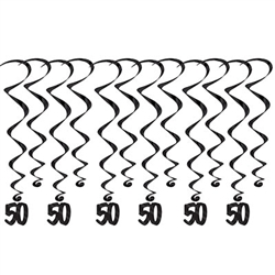 "50 Whirls - Add a strikingly bold touch of class to your birthday celebration with these Black 60th Birthday Whirls. Each package comes with 12 whirls. Six are 17.5"" long basic whirls, six are 32"" long whirls with 6.5"" tall black number 50 danglers."