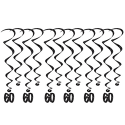 "60 Whirls - Add a strikingly bold touch of class to your birthday celebration with these Black 60th Birthday Whirls. Each package comes with 12 whirls. Six are 17.5"" long basic whirls, six are 32"" long whirls with 6.5"" tall black number 30 danglers."