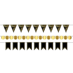 Foil Mini Streamer Kit - Black and Gold