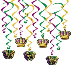 Add the excitement and fun of Bourbon St. to your Mardi Gras party with these classic Mardi Gras Whirls.  Each package comes with 12 metallic whirls in colors as shown.  Six are 17.5 inch long and six 31.5 inch long with 4 inch tall danglers.