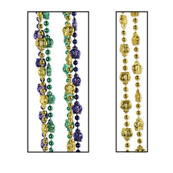 It's not a Mardi Gras party without beads!   They make a great keepsake to remember the good times by.  Each package contains 3 strings of beads featuring crown embellishment, one each gold, purple and green.  Bead strings are 33 inches long.