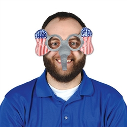 "There will be no doubt which side of the aisle you're on with these Patriotic Elephant Glasses! Perfect for rallies, election headquarters, results watch parties and victory celebrations. One size fits most., these novelty glasses measure 8"" ear to ear"