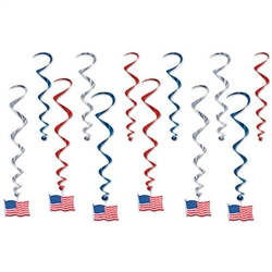 Celebrate America with these classic patriotic American Flag Whirls! They're perfect for patriotic themed parties, events, election headquarters and election watch parties. The package comes with 12 metallic whirls in red, silver and blue as shown.