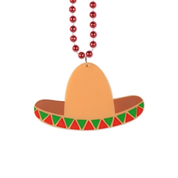 Great as gifts for your guests the make keepsake that will bring a smile every time they're seen.  Bead string is 33 inches long, sombrero is 4.5 inches wide by 2.75 inches tall.