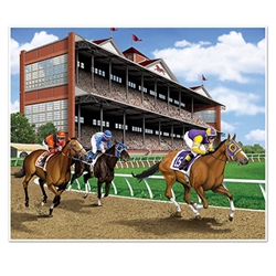 Horse Racing Photo Op Insta-Mural - Give your party venue a classic horse racing track look with this 5 foot by 6 foot Horse Racing Photo Op Insta-Mural.  Your guests will be able to post the perfect Instagram and Facebook pictures!  Easy to hang using tape, tacks, pins or staples, and reusable with care.https://www.pa