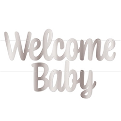 Foil Welcome Baby Streamer - Silver