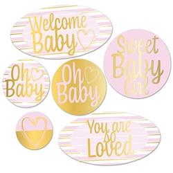 Foil Welcome Baby Cutouts - Pink