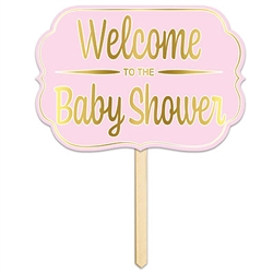 Foil Welcome To The Baby Shower Yard Sign (Pink)