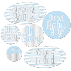 Foil Welcome Baby Cutouts - Blue
